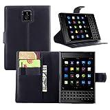 Premium Leather Wallet [ Flip Bracket ] Case Cover for Blackberry Passport (Wallet - Black)