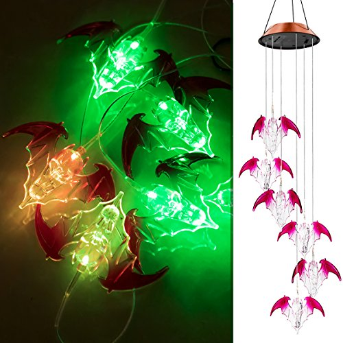 Solar Bat (Ylyycc Color Changing LED Solar Wind Chimes path LED Changing Light Color waterproof six bat wind chime for dinner party/garden/corridor decoration)