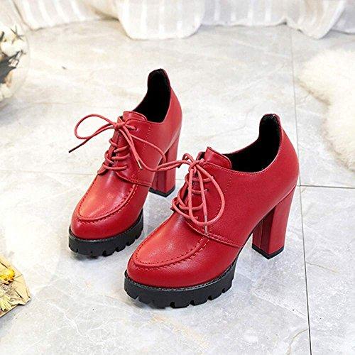 Zapatos Rojo Altos de Zapatos Botas Cuero pequeños Cuero de con Mujer QUICKLYLY Tacones de Cortas a0qUpa6