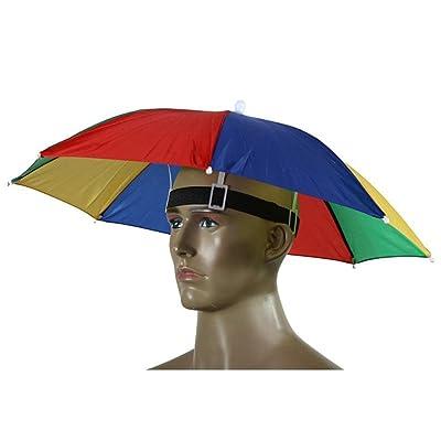 ZEROYOYO Rainbow Large Umbrella Hat Hands Free with Head Strap for Sun    Rain 50% 9ff96acd213