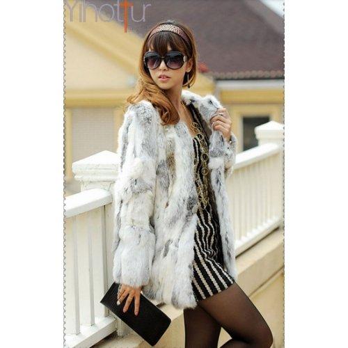 Veste D'hiver Chic Lapin Femme Xxl Diana En Femme Tendance Fourrure Taille Lapin Blanc 6Z6qr