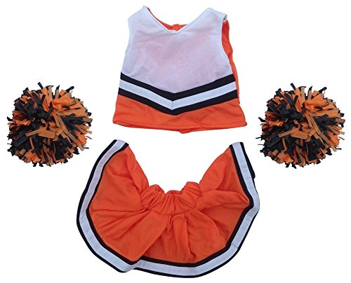 Orange and Black Cheerleader Outfit Teddy Bear Clothes Fit 15 inch Build-A-Bear, Vermont Teddy Bears, American Girl Doll and Make Your Own Stuffed Animals-Great For (Bears Cheerleaders)