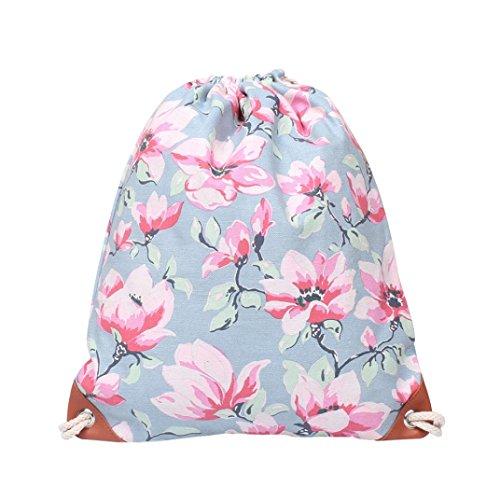 (YJYDADA Bag,Fashion Women Canvas Printing High Capacity Bucket Bag Backpack Shoulder Bag (A))