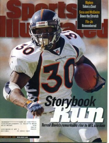 Sports Illustrated September 28 1998 Terrell Davis/Denver Broncos on Cover, Sammy Sosa/Chicago Cubs & Mark McGwire/St. Louis Cardinals, Jimmy Johnson/Miami Dolphins, post-Peyton Manning University of Tennessee Football, Charlie Batch/Detroit Lions