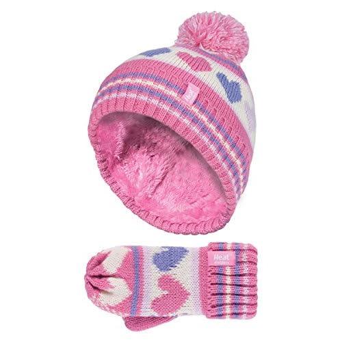 f5917ebd1a9c8 Heat Holders - Niña Chica Invierno Colores Térmico Caliente Beanie Gorro y  Mitones Guantes Set con