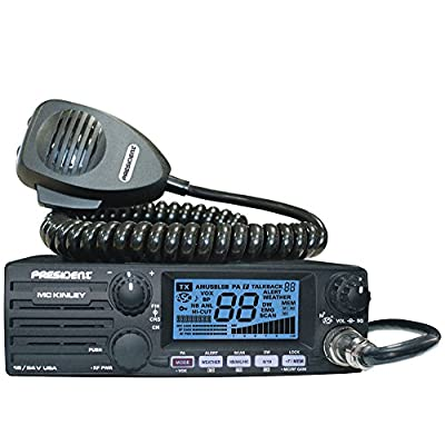 President Electronics MC KINLEY USA Hm AM/SSB Tranceiver CB Radio, 40 Channels, 7 Weather Channels, Channel Rotary Switch, Volume Adjustment and ON/OFF, Multi-functions LCD Display, 12/24V: Car Electronics