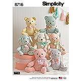 Simplicity 8716 Animals Stuffed Bear, Cat, and Dog