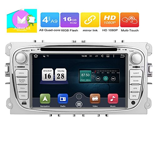 Eincar Android 6.0 Quad Core Car Radio in Dash 7inch Double Din Stereo Headunit for Ford Focus Mondeo Support GPS Navigation Mirror-link CANBUS SWC DVD Radio 4G 3G Wifi OBD2 (Ford Units Head)