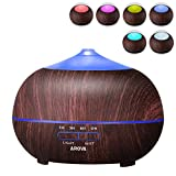 Arova 400ml Aromatherapy Essential Oil Diffuser - Portable Ultrasonic Diffuser Cool Mist Air Humidifier-Timer Setting,Color Changing LED Lights,Auto Shut-off for Yoga Spa Office Home-Black Wood Grain