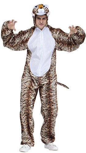 Fun World Men's Tiger Animal Adult Halloween Costume, Multi, -