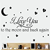 Wall Décor Stickers I Love You to the Moon Art Vinyl Wall Stickers Home Wall Decals Letters Decor (2, Black)