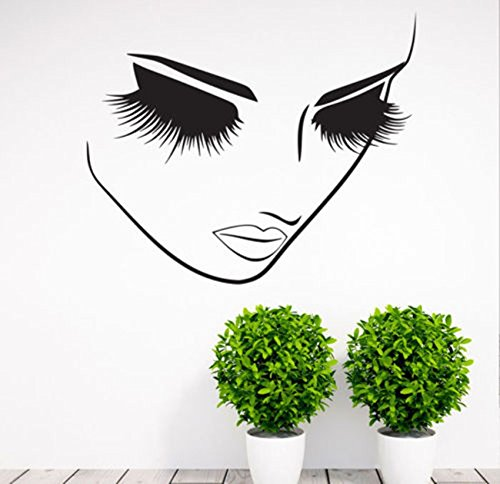 Fashion Removable Beauty Lashes Eyes Wall Decal Women Face Spa Salon Decor Sticker Home Decor Bedroom Art Vinyl Wall Sticker A-94 (Black) by YOYOYU ART HOME DECOR (Image #1)