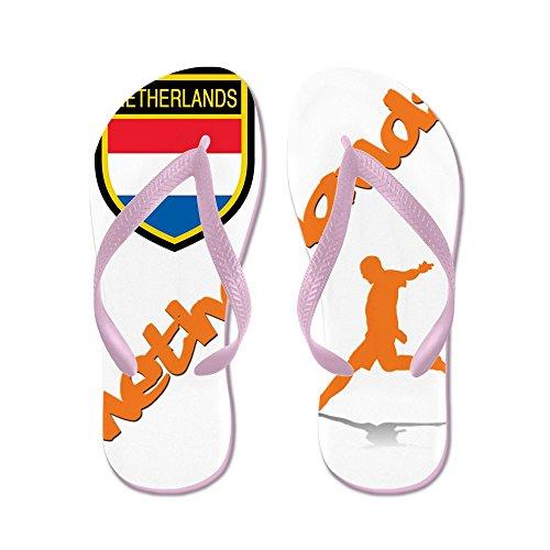 Cafepress Nederländerna Världsfotboll - Flip Flops, Roliga Rem Sandaler, Strand Sandaler Rosa
