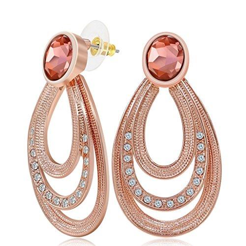 kemstone Rose Vintage Boucles d'Oreilles Pendantes couleur or pour femme bijoux complet Autrichien serties de strass
