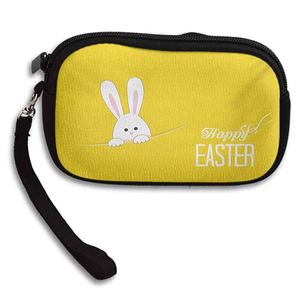 Yellow Womens Purse Easter Bunny Rabbit Animal Cartoon Springtime Cheerful Fun Celebration Art Print W 5.9x L 3.7 Zipper Coin Pocket Wallet Card Holder
