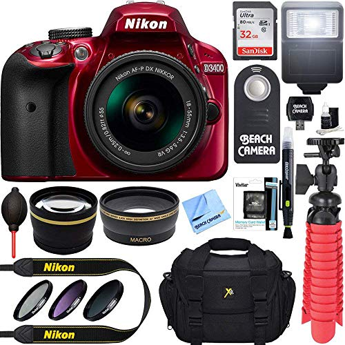 Nikon D3400 24.2 MP DSLR Camera + AF-P DX 18-55mm VR NIKKOR Lens Kit + Accessory Bundle 32GB SDXC Memory + SLR Photo Bag + Wide Angle Lens + 2x Telephoto Lens + Flash + Remote + Tripod+Filters (Red)