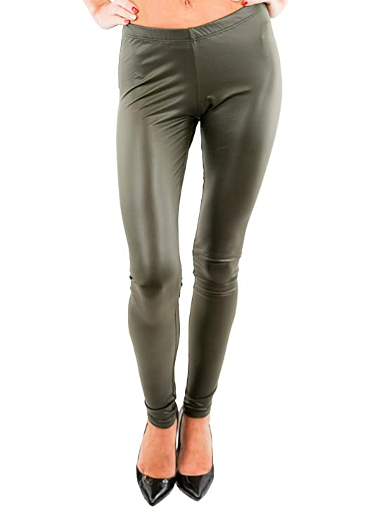 9ec8a8d0903 Vivian s Fashions Long Leggings - Liquid Leather (Junior and Junior Plus  Sizes) at Amazon Women s Clothing store