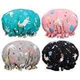 Fuyamp 4 Pack Shower Cap, Double Layer Waterproof Shower Hat Unicorn Shower Caps Reusable Elastic Band Bath Caps Perfect for Women and Girls Shower Spa