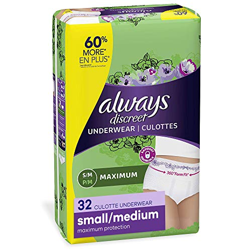 Image of Always Discreet Incontinence & Postpartum Incontinence Underwear for Women, Small/Medium,