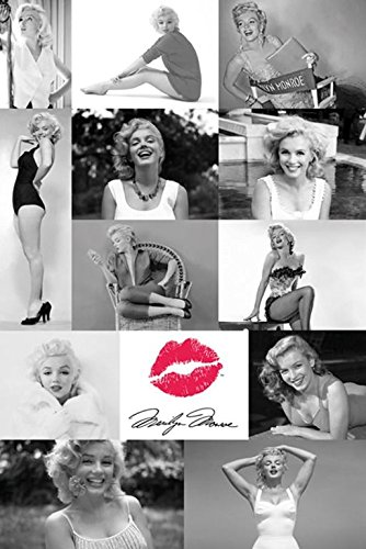 Buyartforless Marilyn Monroe Photo Tiles Collage with Red Lips 36x24 Icon Art Print Poster