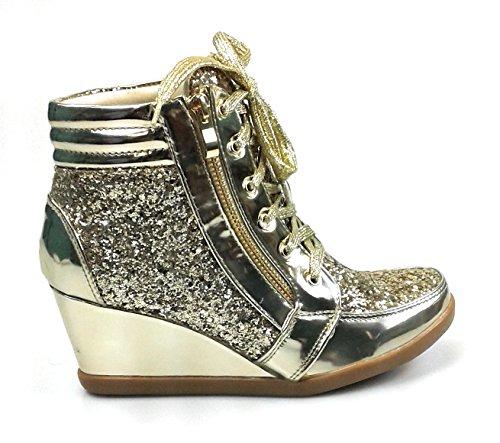 Forever Link Damen Peggy 44 Glitter Metallic gesteppte Schnürschuhe Low Top Fashion Sneaker Gold Peggy-44
