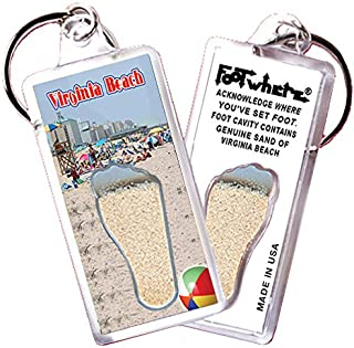 """product image for Virginia Beach """"FootWhere"""" Keychain (VB106 - @daBeach). Authentic Destination Souvenir acknowledging Where You've Set Foot. Genuine Soil of Featured Location encased Inside Foot Cavity. Made in USA"""