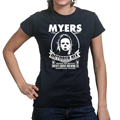 Womens Mike Myers Halloween Ale Scary Costume Ladies T Shirt Large Black (Mike Myers Halloween Costume)