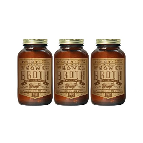 EPIC Beef Jalapeno Sea Salt Bone Broth, Keto Consumer Friendly, 3Ct 14fl oz jars