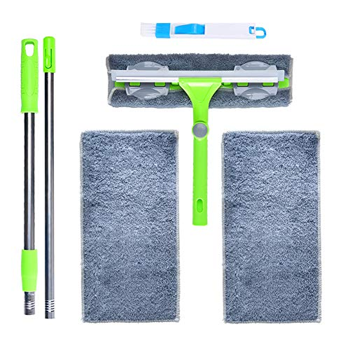 IKU Windows Squeegee Cleaning Kit - Extendable Pole, Microfiber Cloth, Groove Brush, Spare Microfiber Cloths(2) - Indoor & Outdoor Window Cleaner Tool for House, Shower, Car (Green)
