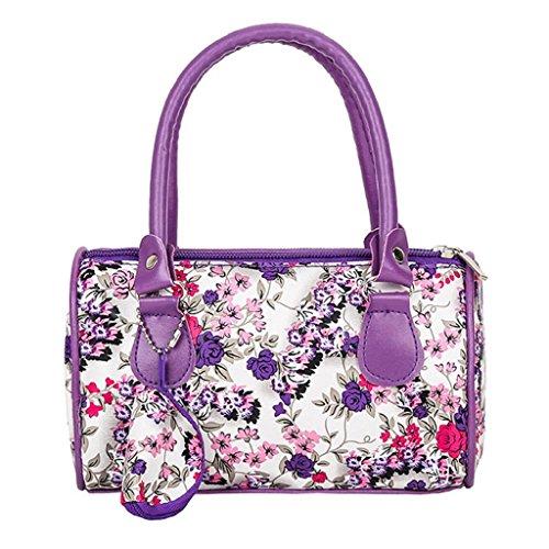 Flores Casual Cuero Púrpura Bolsos De Estampado Mujer Mano Bolsa PU Bandolera de QUICKLYLY de de Hombro Fiesta FvqZwnX