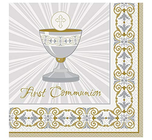 Gold & Silver Radiant Cross First Communion Party Napkins, 16ct ()