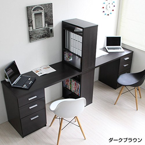 【予約販売10月上旬入荷予定】パソコンデスク ツインデスク セット ハイタイプ おしゃれ 収納 木製 書棚付きラック 3段チェスト ダークブラウン CPB027D-ADBR J-Supply B01G13DD3A