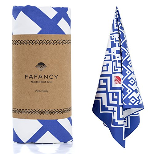 - FAFANCY Microfiber Beach Towel - Oversized Quick Dry Sand-Free Absorbent Beach Towels for Kids and Adults - Best Lightweight Thin Towels for Swimming Pool, Camping, Vacation - Extra Large 63x35