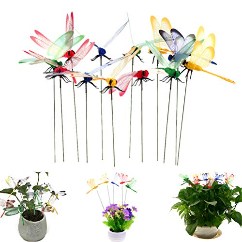 Lwestine 24Pcs Dragonflies Garden Ornaments Patio Decoration Dragonfly Stakes with - Stake Dragonfly