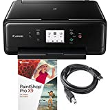 Canon PIXMA TS6120 Wireless All-in-One Compact Multi-Function Printer with General High Speed 6-Foot USB Printer Cable and Corel Paint Shot Pro X9 (Black)