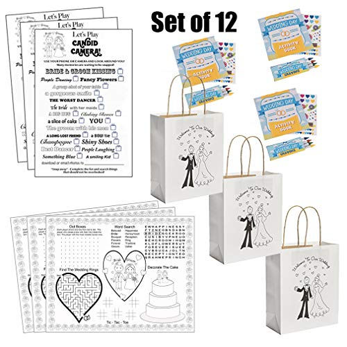 Kids Wedding Activities Set - Kids Wedding Coloring Books with Crayons Individually Packaged (12), Kids Wedding Placemats (12), Kids Wedding Favor Bags (12), Kids Wedding Scavenger Hunt Sheets (12) -