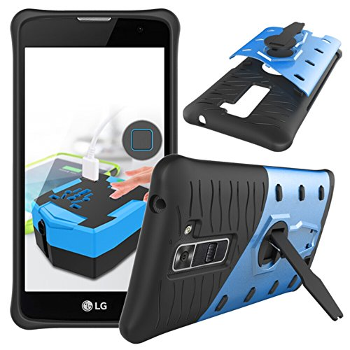 Price comparison product image LG K7 Case, LG Tribute 5 Case,TOODAY Heavy Duty Shockproof Dual Layer Hybrid Armor Defender Full Body Protective Cover With 360 Degree Rotating Kickstand Design for LG K7/ LG Tribute 5 (Blue)
