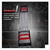 Multifunctional chest expander developer ABS handle detachable 5springs portable arm wrist muscle fitness exercise equipment hand grip resistance training bands (Silver)