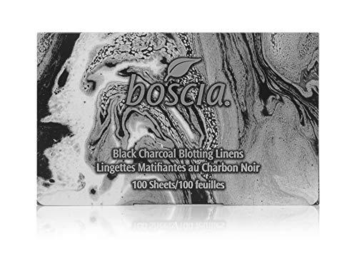 boscia Black Charcoal Blotting Linens - Oil-Absorbing Bamboo Charcoal, 100 Sheets