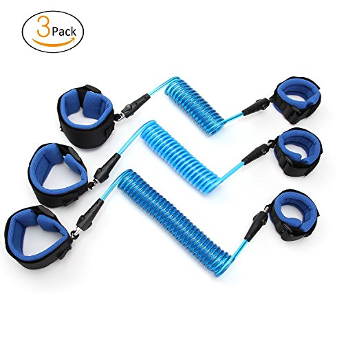 Anti Lost Wrist Link Safety Wrist Link Harness Strap Rope 5 feet + 6 feet + 8.2 feet Velcro Wrist Strap Perfect for Toddler & Child Safety (Loop Lock Blue Padded Seat)