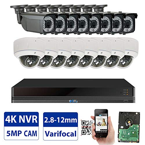 GW 16 Channel 4K NVR 5MP Video Security Camera System - 8 x Bullet & 8 x Dome 5MP 1920P Weatherproof 2.8-12mm Varifocal Cameras, Realtime Recording 1080p @ 30fps, Pre-Installed 4TB HDD