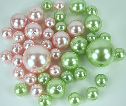 BULK BUY !!! Elegant Vase Fillers 330 Assorted Oversized Pearls Beads - Unique Decorative Gems Wholesale (PINK, APPLE GREEN) (Apple Gem)