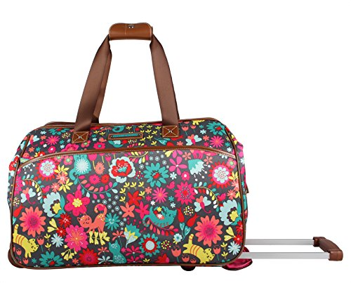 Lily Bloom Luggage Designer Pattern Suitcase Wheeled Duffel Carry On Bag (14in, Playful Garden) by Lily Bloom (Image #1)