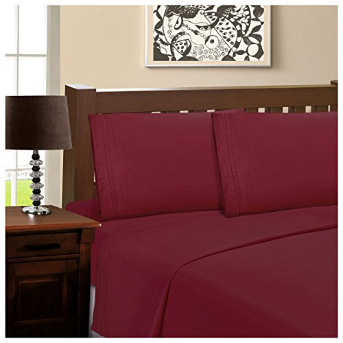 Superior Infinity Embroidered Luxury Soft, Cooling 100% Brushed Microfiber 4-Piece Sheet Set, Light Weight and Wrinkle Resistant - California King Sheets, Burgundy - Alternatives California King Sheet Set