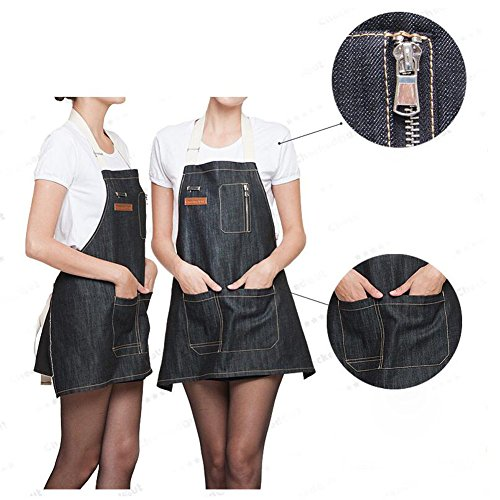 AINOLWAY Stylish Denim Apron with Pockets Korean Style Jean Apron for Man Kitchen Cooking 24.4''L X 23.6''W BLACK by AINOLWAY (Image #4)