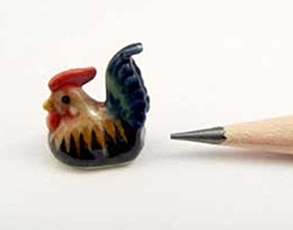 2 Rooster Hand Painted Vase Dollhouse Miniatures Ceramic Supply Deco 3