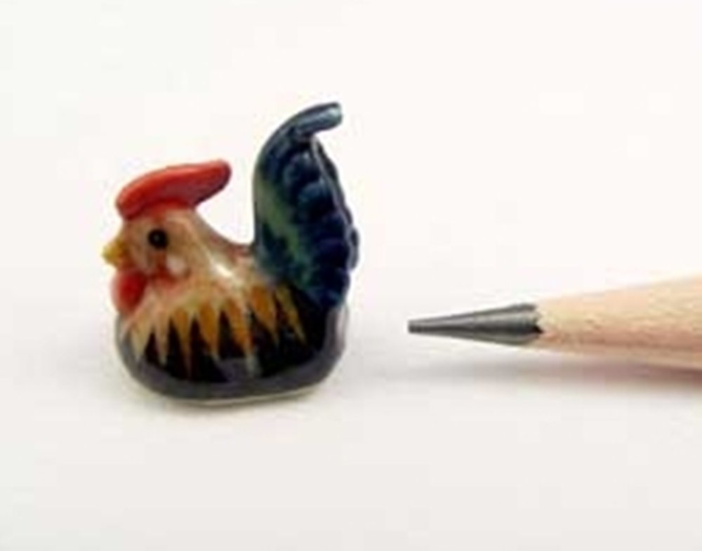 ChangThai Design Dollhouse Miniatures Ceramic Fancy Rooster FIGURINE Animals Decor by ChangThai Design