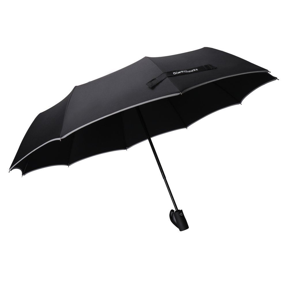 Compact Travel Umbrella, DIWENHOUSE Windproof Automatic Open/Close Rain Resistant Canopy Reinforced 10 Ribs Black Umbrellas for Men & Women (Auto Umbrella - Explosion-proof)