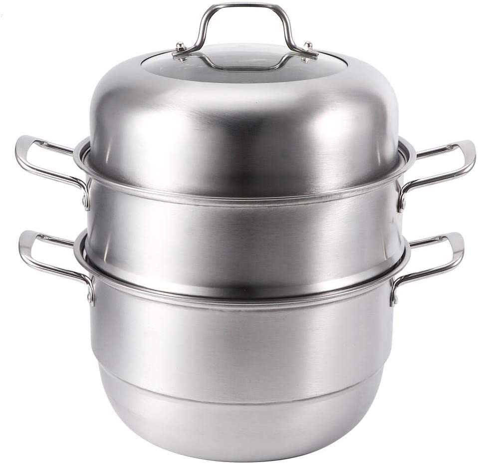 Jadpes ???????????????????????????????????? ???????????????? Food Steamer Cooking Pot Cookware,Stainless Steel Steamer Pot for Cooking Soup and Steaming Food Steam Pot,3 Layer Steaming Steamer Cooking Pot Electric Grill Stove