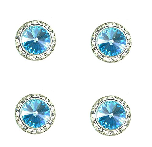 Jewelry Horse Show - Horse jewelry magnetic contestant show number pins swarovski light turquoise crystal set of 4